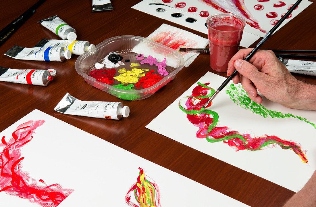 Acryl-malerei: Varianten in Technik und Farben für KVW Cover –Colori acrilici pittura in Alto Adige