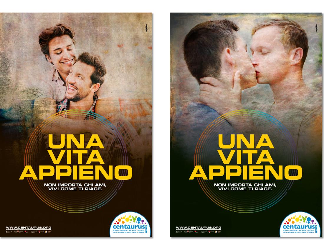 Centaurus manifesti: campagna per la giornata del coming out 2016 con il bacio tra 2 uomini gay (lgbt lgbtiq). Design di Waldemar Kerschbaumer, studio grafico adpassion di Bolzano, Alto Adige.