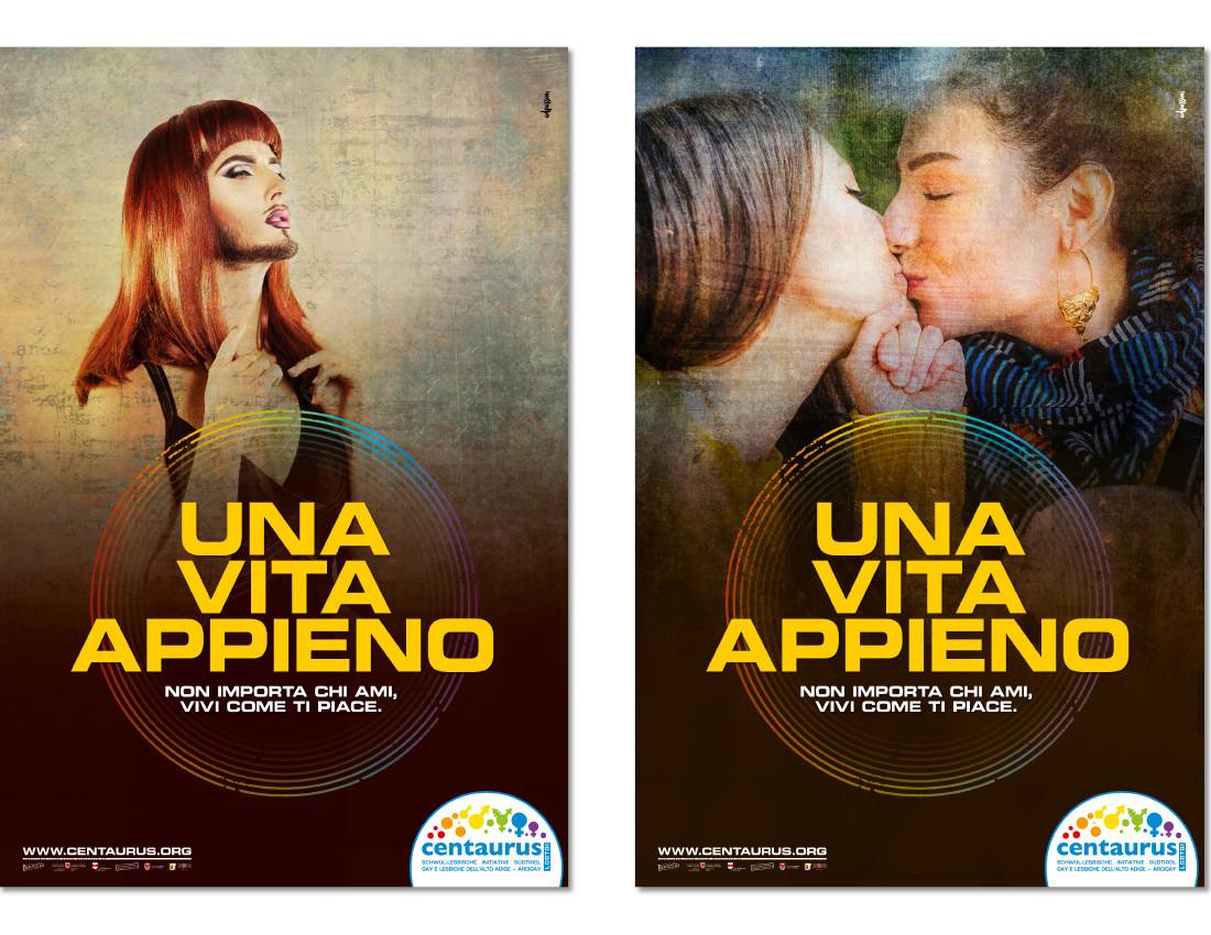 Centaurus Arcigay manifesti: campagna coming out con 2 donne lesbiche che si baciano. Trans tipo Conchita lgbt lgbtiq. Design di Waldemar Kerschbaumer, agenzia pubblicitaria adpassion di Bolzano.
