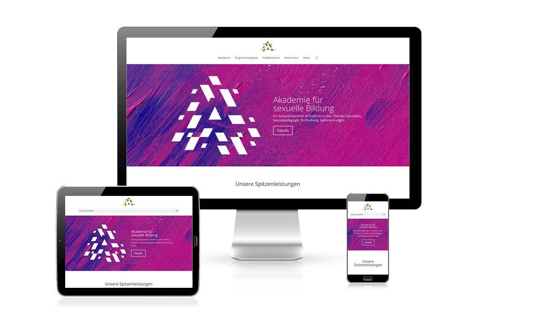 Erstellung responsive webdesign, Akademie für sexuelle Bildung, Adpassion Webagentur in Südtirol, Website Suchmaschinen Optimierung, Erstellung Internetseite