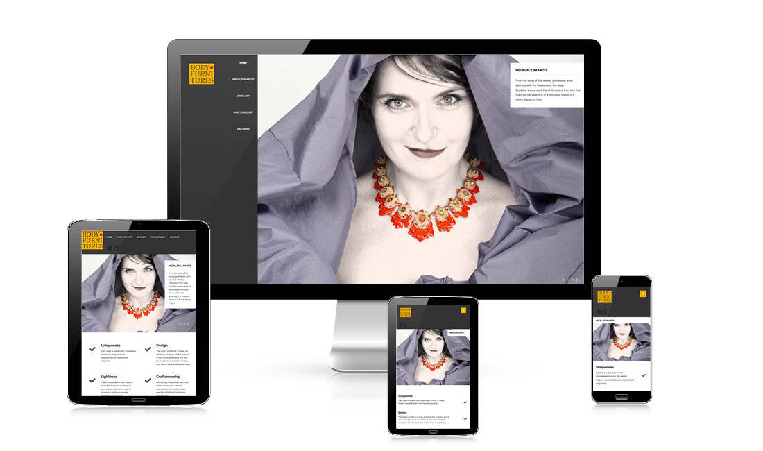 Responsive Webdesign of Bodyfurnitures Jewellery website with a layout that works on all mobile devices, by adpassion web partner Bolzano, Italy