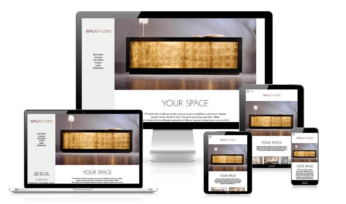 Design del sito web con responsive webdesign: Sito internet della Baustudio a Bolzano. Disegnato, SEO e concetto di adpassion agenzia web, Alto adige