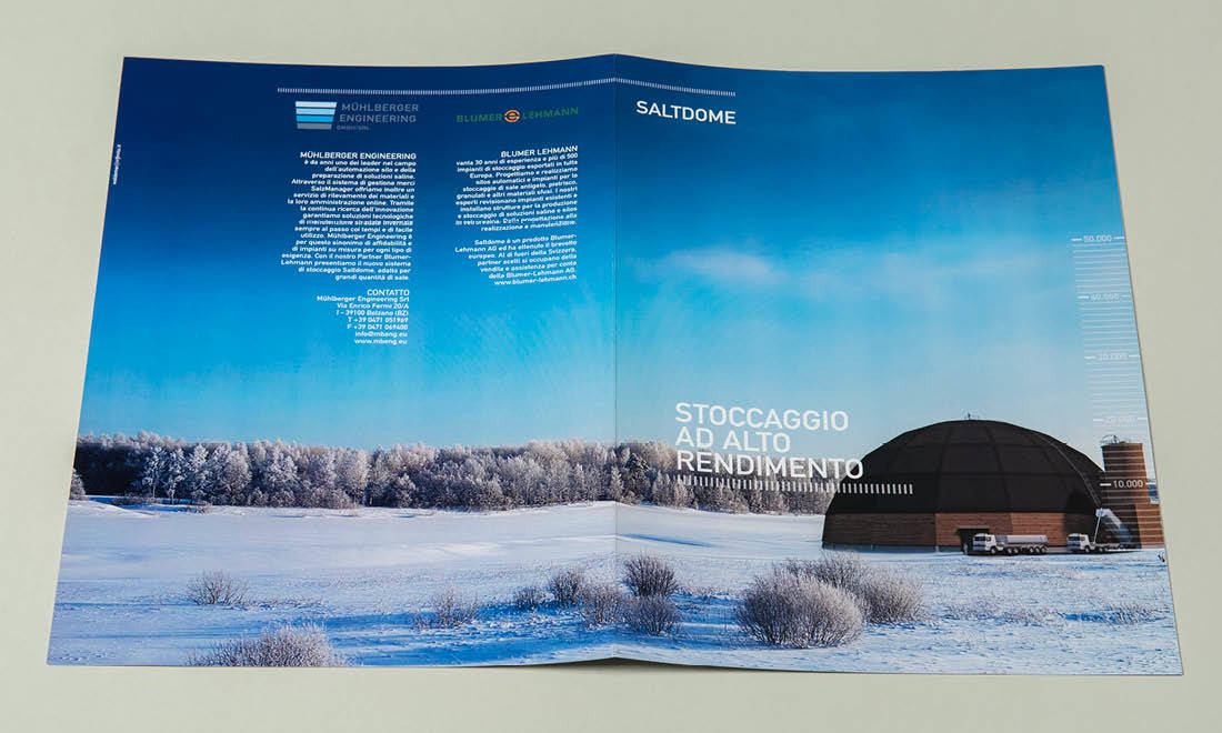 Mühlberger Engineering als italienischer Vertreiber des Produktes Saltdome, Designadaption von adpassion Werbung in Bozen