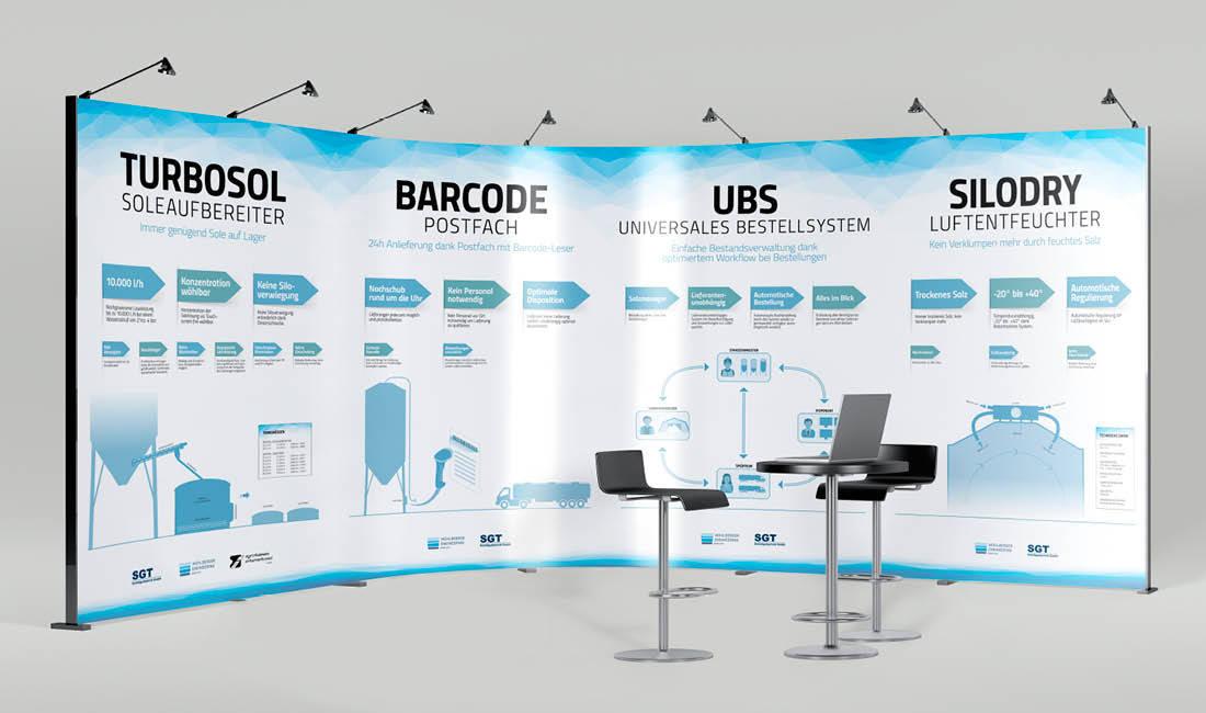 Mühlberger Engineering Italien und SGT Österreich präsentieren neue innovative Produkte auf Fachmessen. Illustrationen als Silhouetten der Produkte von adpassion Grafik/Werbung