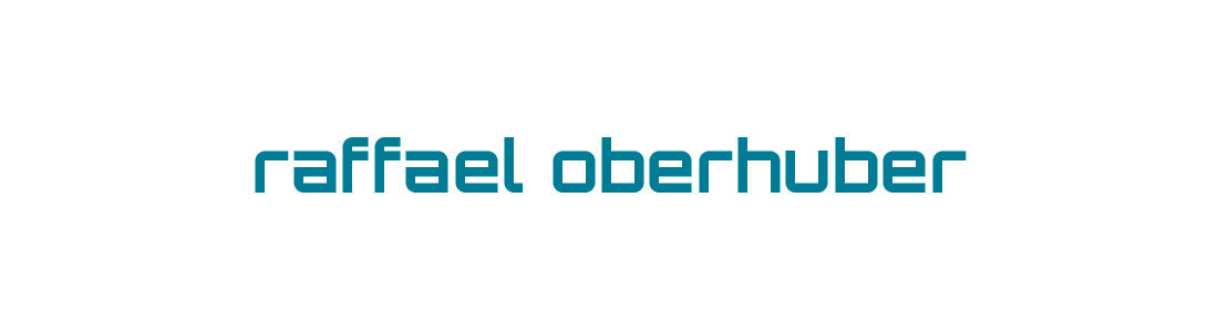 logo von raffael oberhuber, rolfing Bozen Lauben, Südtirol. Corporate design identity blau türkis