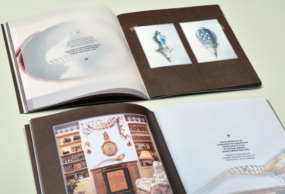 Gian Luca Bartellone: Folder mir Malerei Trompe l'Oeil mit chinesichen Vasen in Sardinien, Italien. Perfekte Illusion mit Licht und Schatten Malerei