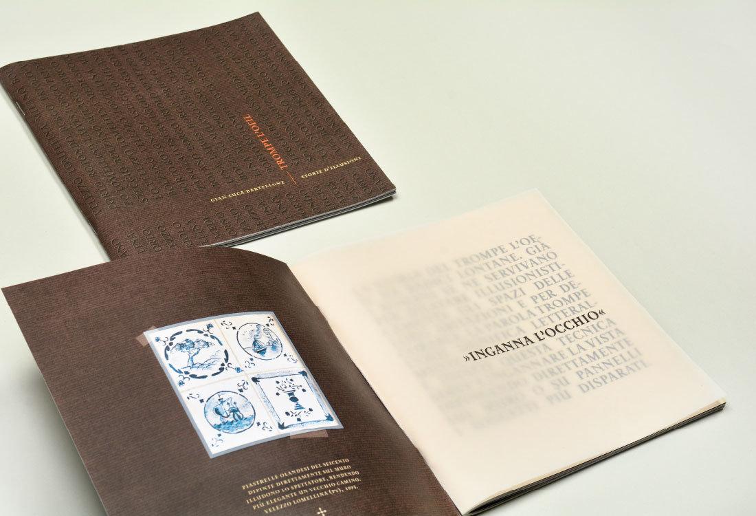 Gian Luca Bartellone: Büchlein über Trompe l'Oeil, täusche das Auge: Cover mit Ledereffekt, Zeichnungen von fiktiven selbst entworfenen Fliesen