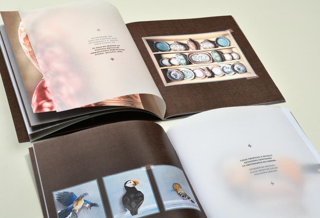 Gian Luca Bartellone: trompe l'oeil buch mit vasen, vögel, illusionsmalerei in mailand, bozen, italien. Zeichnungen in Farbe