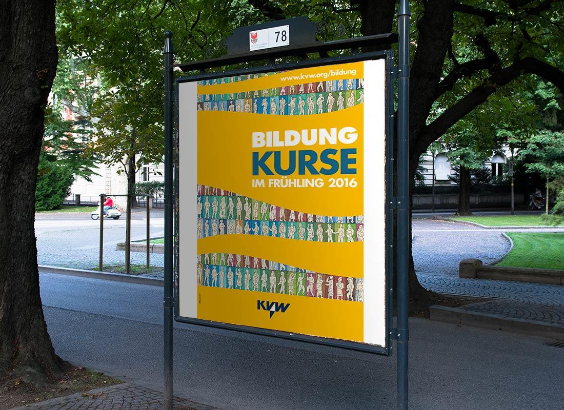 KVW Bildung Plakat Frühling 2016 mit einem Bild von Marcello Bizzarri Südtirol. Konzept vom Grafiker Waldemar Kerschbaumer, Adpassion Design, Bozen