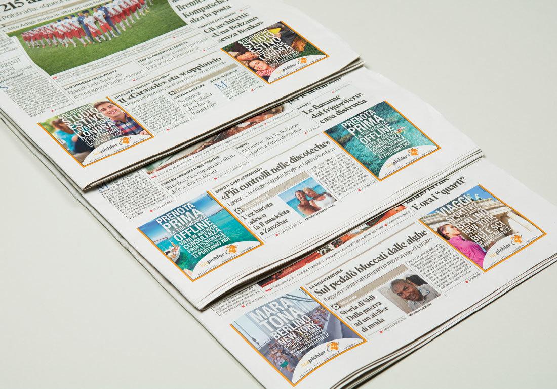 reisedienst luis pichler agenzia viagg: prenota la vacanza off-line, werbung in tageszeitungen, pubblicità sull'alto adige