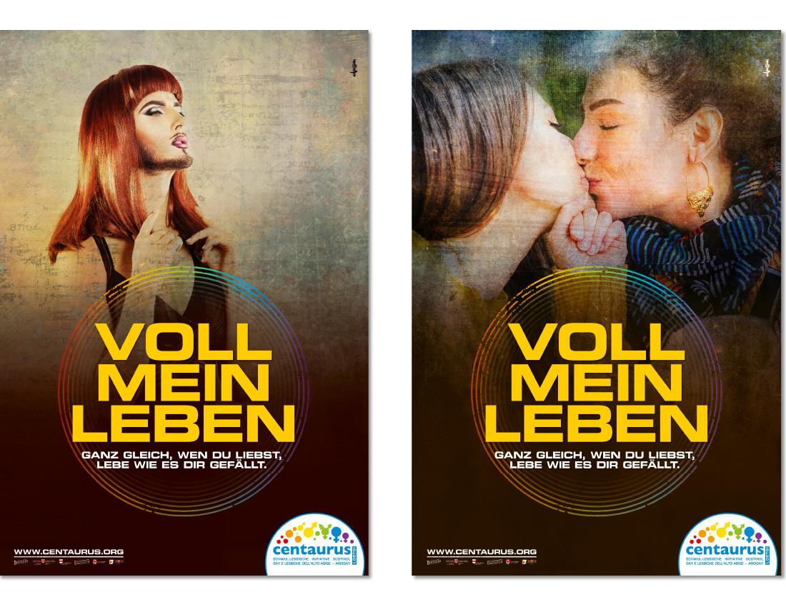 Centaurus Coming Out Plakat-kampagne 2016. 2 lesbische Frauen küssen sich. Trans á la Conchita queer lgbt lgbtiq. Design: Waldemar Kerschbaumer, Grafikbüro in Bozen, Südtirol