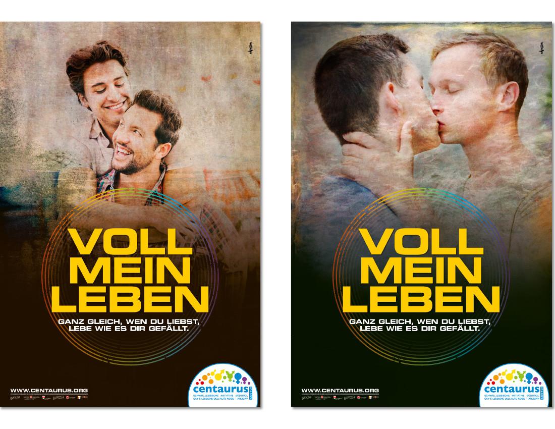 """Centaurus Coming Out Plakate, Sensibilisierungskampagne 2016: """"Voll mein Leben"""" schwule gay-Männer küssen sich. Plakatkampagne lgbtt lgbtiq von Waldemar Kerschbaumer, Werbeagentur adpassion in Bozen, Südtirol"""
