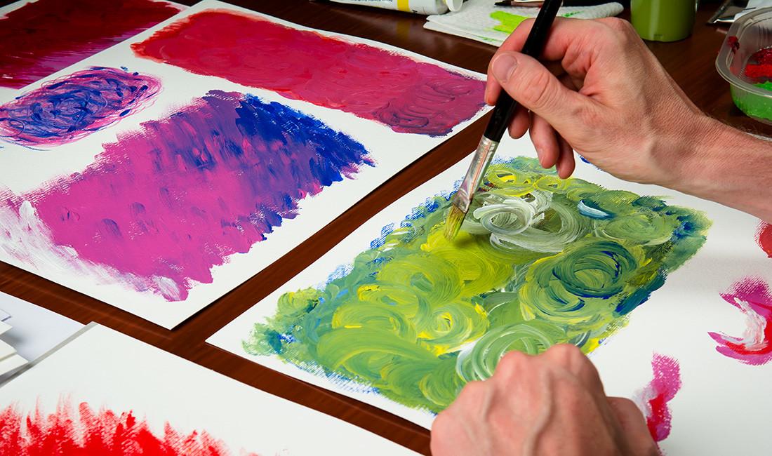 Akademie für sexuelle Bildung Südtirol: Acrylmalerei mit bunten Farben. Grafik und Malerei von Waldemar Kerschbaumer, adpassion Grafikbüro Bozen, Südtirol