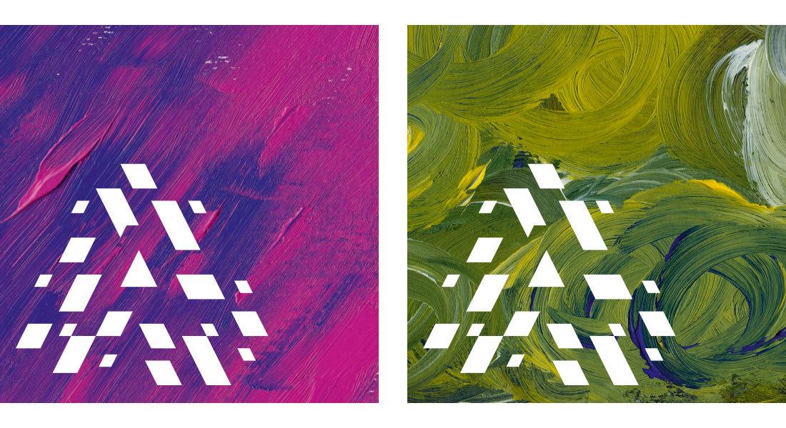 Akademie für sexuelle Bildung Südtirol: Acrylmalerei Hintergrund mit grün oder pink/blau Verlauf. Corporate Design und Grafik/Malerei vom Designbüro Waldemar Kerschbaumer, adpassion Bozen, Südtirol