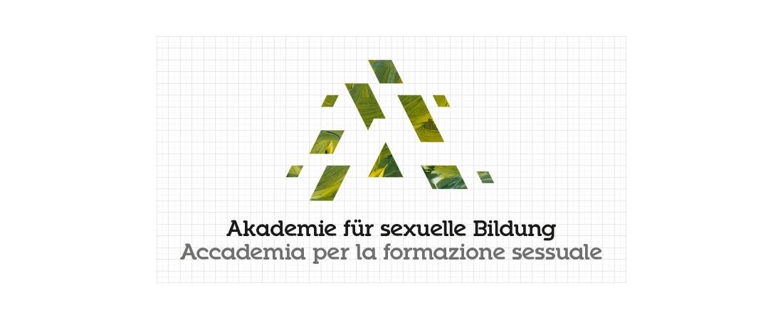 Akademie für sexuelle Bildung Südtirol: Logo in Farbe und zweisprachig auf Raster ausgelegt. Corporate Identity Analyse von Waldemar Kerschbaumer, adpassion Werbung Bozen, Südtirol