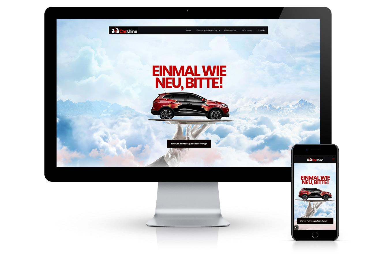 Webdesign in Bozen, Südtirol: Carshine Autoreinigung – Erstellung der Website mit Responsive Design. Erstellung einer https-Internetseite mittels SSL, ein sicherer Schutz vor Hacker. CMS von Wordpress. Design mit Animationen und visuellen Effekten von adpassion.
