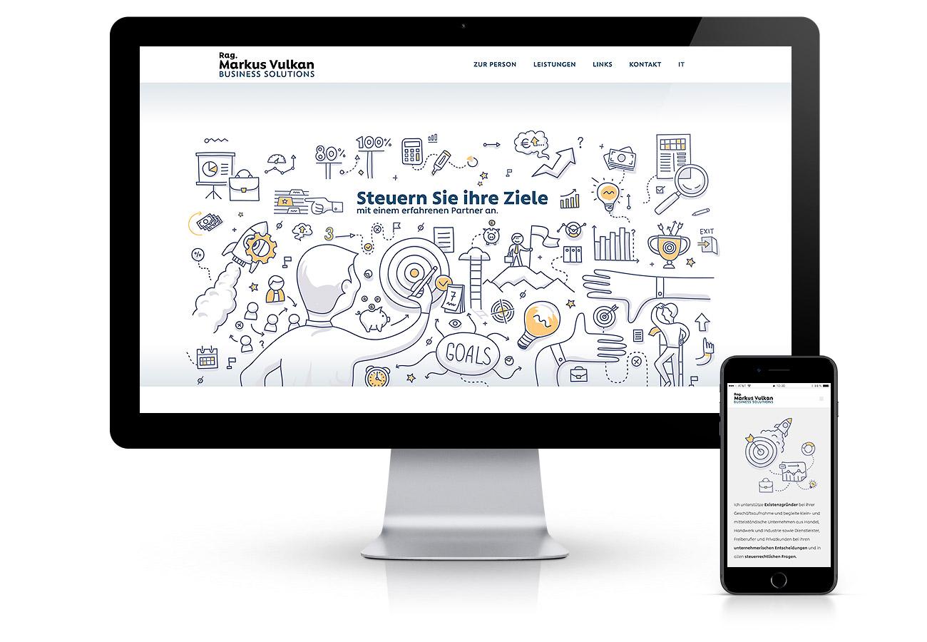 Erstellung einer Onepage Website in Südtirol mit HTTPS, SSL-Zertifikat und Security Schutz für Steuerberater Markus Vulkan. CMS von Wordpress mit Illustrationen. Von Waldemar Kerschbaumer von der Werbeagentur adpassion Bozen.