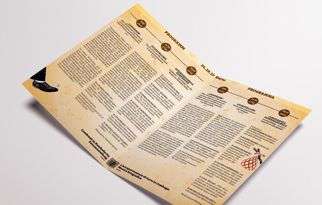 4 Seiten Folder zum Tag der Entwicklungszusammenarbeit (Amt für Kabinettsangelegenheiten Südtirol). Konferenz zum Thema Landgrabbing, Landraub in der Eurac Bozen. Grafikbüro adpassion, Waldemar Kerschbaumer.