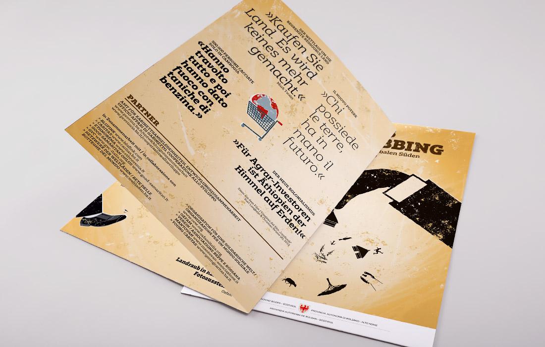 Folder zum Thema Land Grabbing, Landraub in Afrika insbesondere Äthiopien. organisiert vom Amt für Kabinettsangelegenheiten Südtirol, Design von adpassion, Waldemar Kerschbaumer, Bozen