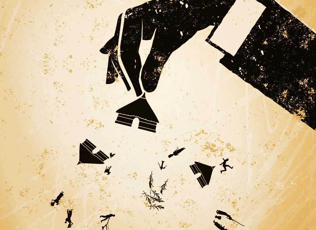 Landgrabbing, Landraub: Detail Plakat mit schwarzen Illustrationen auf erdfarbem Hintergrund. Die schmutzige Hand symbolisiert die schmutzigen Geschäfte der Großunternehmen im Globalen Süden der Welt. Grafik Südtirol, adpassion.