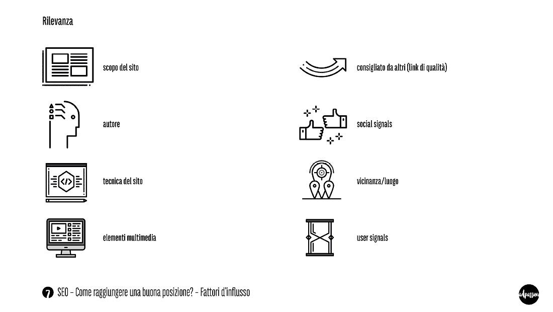 """Slide SEO Nr. 7 –intervista adpassion agenzia web Bolzano – Come raggiungere una buona posizione del sito internet? Ci sono diversi fattori SEO che influiscono sulla """"rilevanza"""" del sito web."""