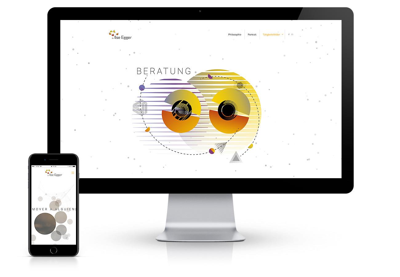 Erstellung einer mehrsprachigen Website in Südtirol für Trainerin und Coach Ilse Egger aus Bozen. Design von abstrakten Illustrationen und Programmierung von Scrollmagic Animationen. Waldemar Kerschbaumer, Webagentur adpassion Bozen.
