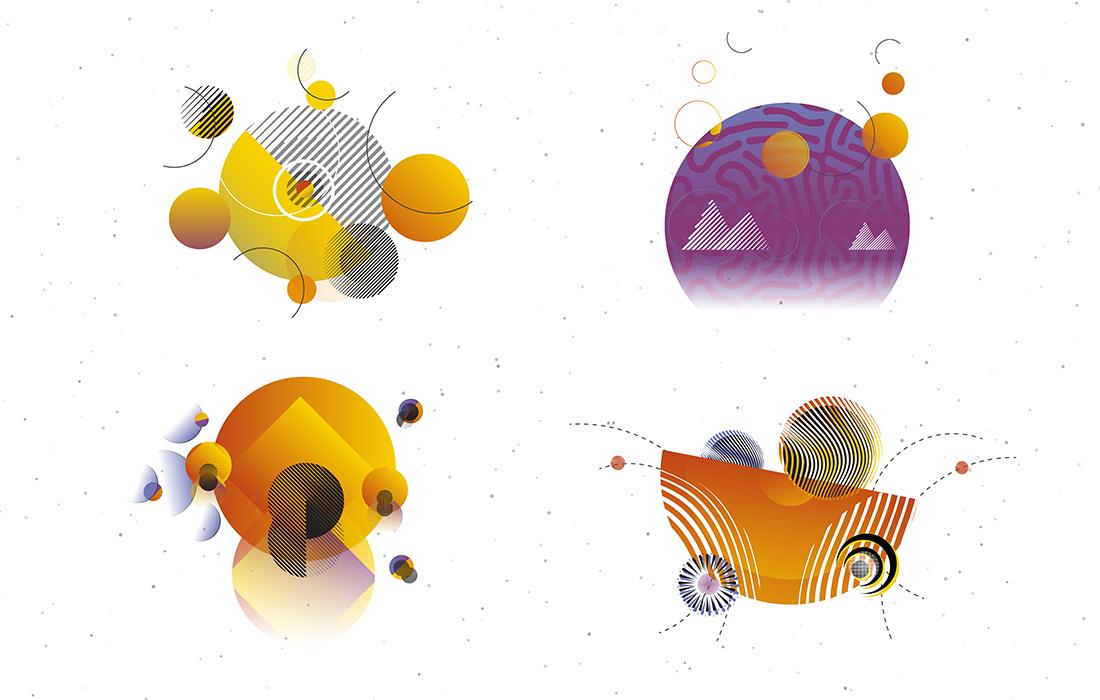 Illustrazioni astratte per il sito internet di Ilse Egger, trainer e coach a Bolzano. Elementi grafici, cerchi e linee sottolineano l'offerta del cliente. Grafica di Waldemar Kerschbaumer, adpassion Alto Adige.