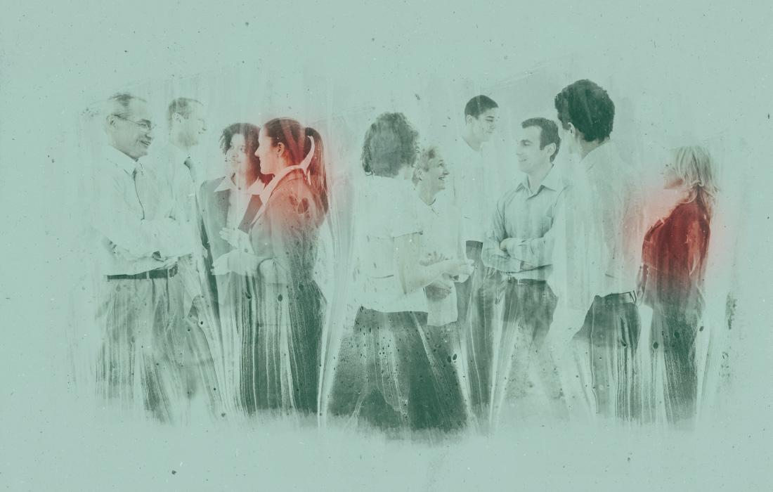Concetto visivo di supervisiori e coaches. Membri dell'associazione. Combinazione di persone con dipinti astratti dall'agenzia pubblicitaria adpassion Bolzano, Alto Adige. Designer Waldemar Kerschbaumer.