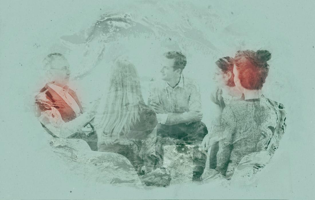 Linguaggio visivo di adpassion agenzia pubblicitaria in Alto Adige, Bolzano. Composizione con persone che discutono e fanno supervisione.