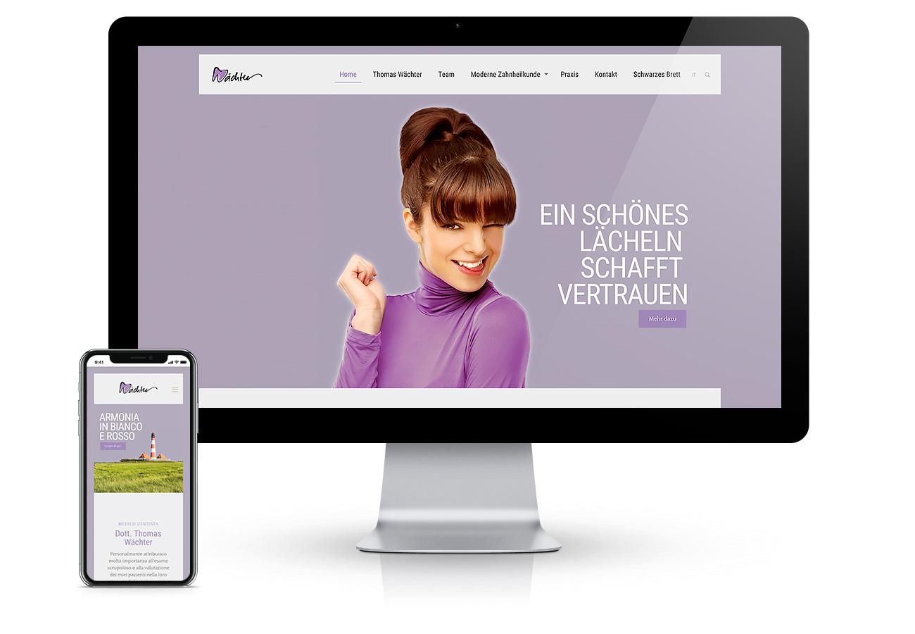 Webdesign a Bolzano, Alto Adige. Programmazione di un sito internet bilingue, moderno e veloce per il medico dentista Dott. Thomas Wächter. Concetto da Waldemar Kerschbaumer, adpassion agenzia web Bolzano