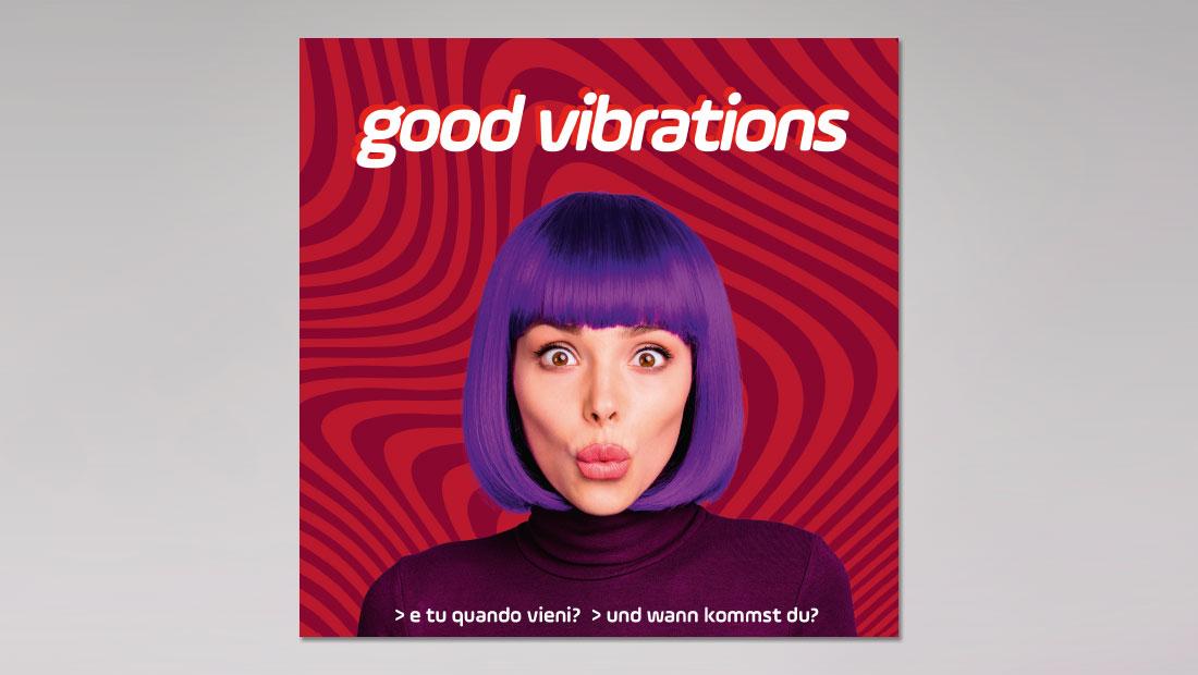 """Beate Uhse Italien - Kampagne """"Good vibrations"""" der Erotik Boutique mittels Postkarte, Einladung zum Opening. Design adpassion, waldemar kerschbaumer, Bozen."""