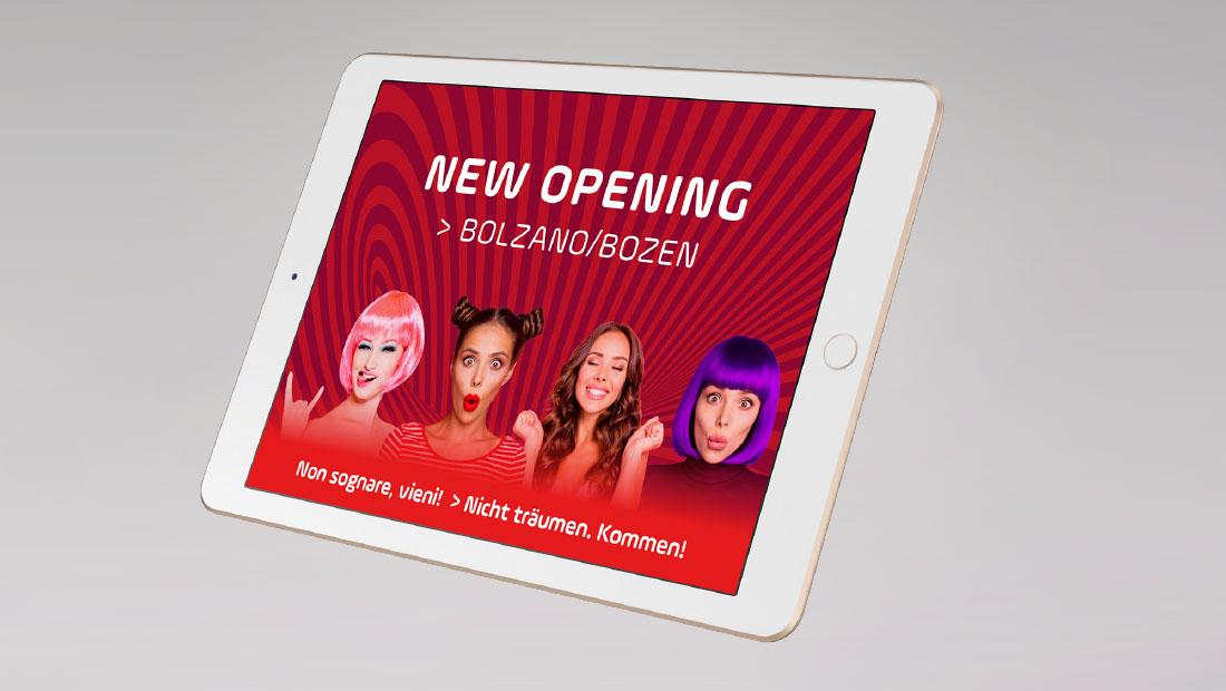 Beate Uhse Italien - New opening a Bolzano, Bozen. Erotik Boutique Südtirol. Design adpassion werbeagentur Bozen.